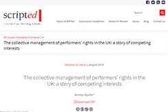 The collective management of performers' rights in the UK: a story of competing interests
